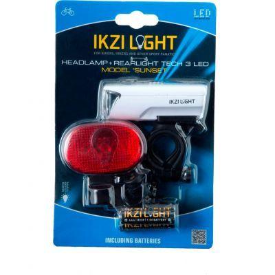 IKZI verlichtingset Sunset koplamp/zaklamp + 3 led achterlicht